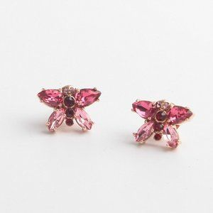 Henri Bendel Pink Crystal Butterfly Stud Earrings